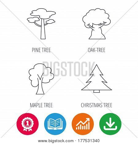 Pine tree, maple and oak-tree icons. Forest trees linear signs. Award medal, growth chart and opened book web icons. Download arrow. Vector