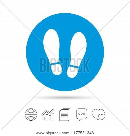 Imprint soles shoes sign icon. Shoe print symbol. Copy files, chat speech bubble and chart web icons. Vector