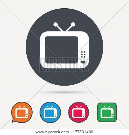 TV icon. Retro television symbol. Circle, speech bubble and star buttons. Flat web icons. Vector