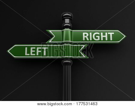 3D Illustration. Right and left pointers on signpost. Image with clipping path