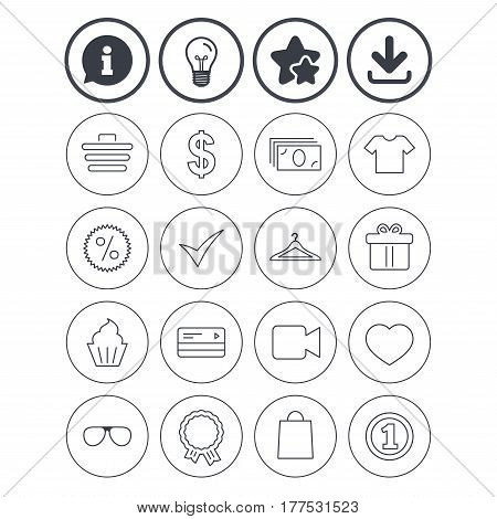 Information, light bulb and download signs. Shopping icons. Shopping cart, dollar currency and cash money. Shirt clothes, gift box and hanger. Credit or debit card. Best quality star symbol. Vector