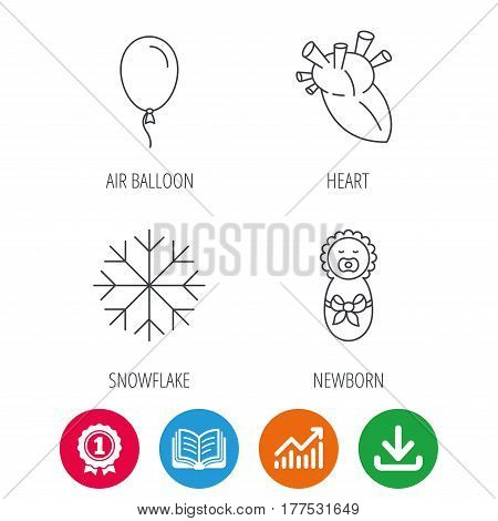 Newborn, heart and air balloon icons. Snowflake linear sign. Award medal, growth chart and opened book web icons. Download arrow. Vector