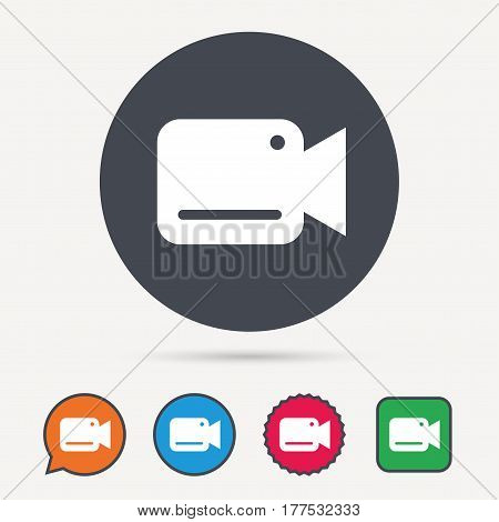 Video camera icon. Film recording cam symbol. Security monitoring. Circle, speech bubble and star buttons. Flat web icons. Vector