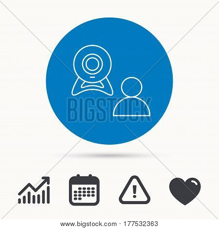 Video chat icon. Webcam chatting sign. Web conference symbol. Calendar, attention sign and growth chart. Button with web icon. Vector