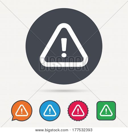 Warning icon. Attention exclamation mark symbol. Circle, speech bubble and star buttons. Flat web icons. Vector