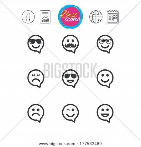 Information, report and calendar signs. Smile speech bubbles icons. Happy, sad and wink faces signs. Sunglasses, mustache and laughing lol smiley symbols. Classic simple flat web icons. Vector