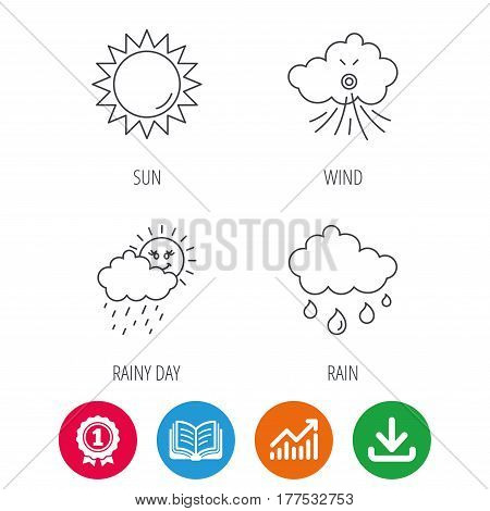 Weather, sun and wind icons. Rainy day linear sign. Award medal, growth chart and opened book web icons. Download arrow. Vector