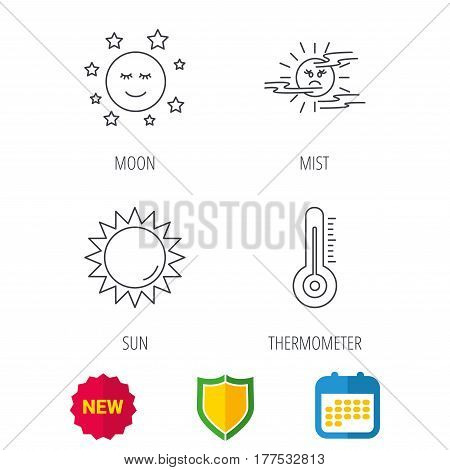 Thermometer, sun and mist icons. Moon night linear sign. Shield protection, calendar and new tag web icons. Vector