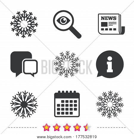 Snowflakes artistic icons. Air conditioning signs. Christmas and New year winter symbols. Newspaper, information and calendar icons. Investigate magnifier, chat symbol. Vector