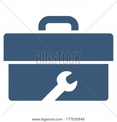 Toolbox vector icon. Flat blue symbol. Pictogram is isolated on a white background. Designed for web and software interfaces.