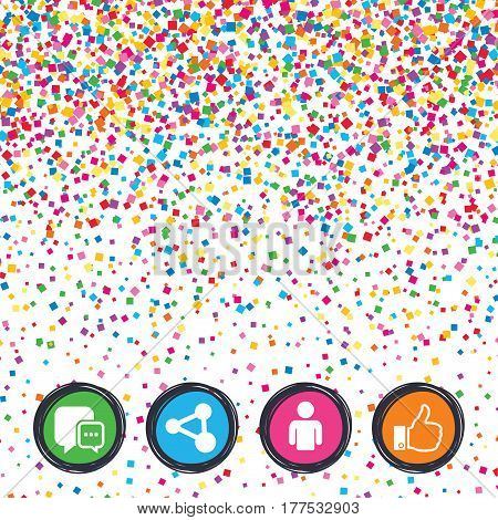 Web buttons on background of confetti. Social media icons. Chat speech bubble and Share link symbols. Like thumb up finger sign. Human person profile. Bright stylish design. Vector