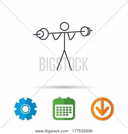 Weightlifting icon. Heavy fitness sign. Muscular workout symbol. Calendar, cogwheel and download arrow signs. Colored flat web icons. Vector