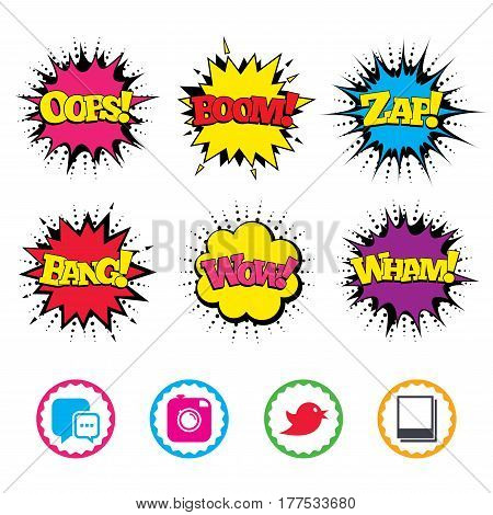 Comic Wow, Oops, Boom and Wham sound effects. Social media icons. Chat speech bubble symbol. Hipster photo camera sign. Empty photo frames. Zap speech bubbles in pop art. Vector