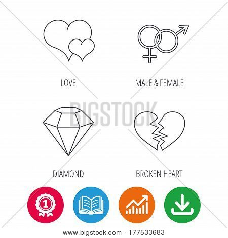 Love heart, brilliant diamond and male, female icons. Broken heart or divorce linear sign. Award medal, growth chart and opened book web icons. Download arrow. Vector