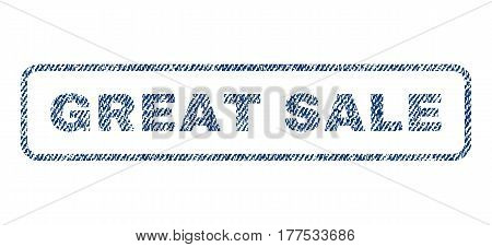 Great Sale text textile seal stamp watermark. Blue jeans fabric vectorized texture. Vector tag inside rounded rectangular banner. Rubber sign with fiber textile structure.