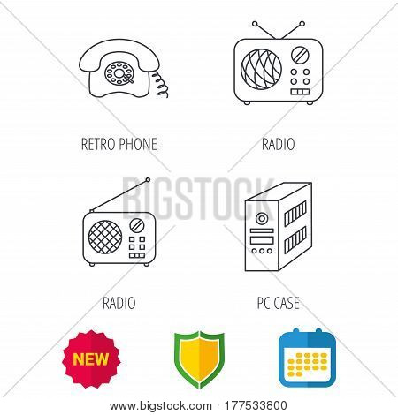 Radio, retro phone and pc case icons. Vintage radio linear sign. Shield protection, calendar and new tag web icons. Vector