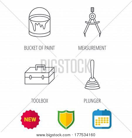 Measurement, plunger and repair toolbox icons. Bucket of paint linear sign. Shield protection, calendar and new tag web icons. Vector