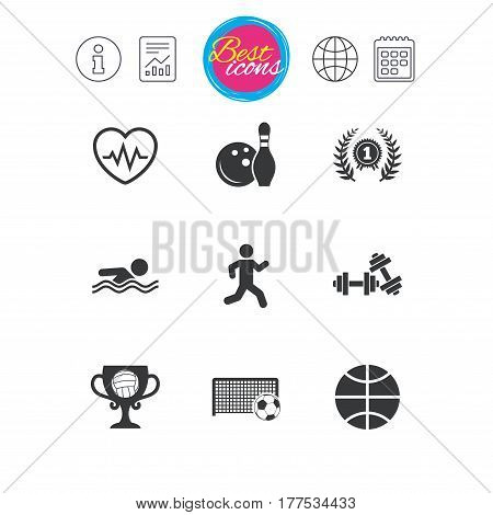 Information, report and calendar signs. Sport games, fitness icons. Football, basketball and bowling signs. Swimming, runner and winner award symbols. Classic simple flat web icons. Vector