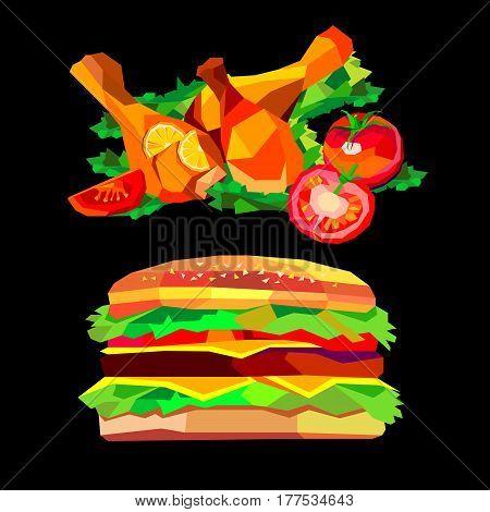 chicken, dinner, baked, roasted, food, burger, hamburger, cheeseburger