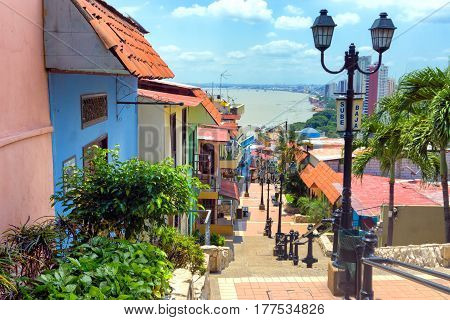 View of the Las Penas neighborhood on Santa Ana Hill in Guayaquil Ecuador