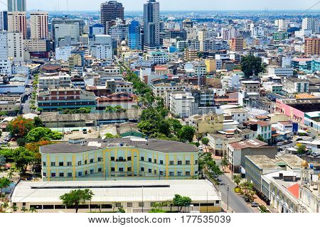 Cityscape view of downtown in Guayaquil Ecuador