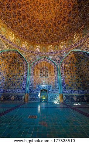 Isfahan, Iran - Circa February 2016 - The interior shot of Sheikh Lotfollah Mosque in Isfahan, Iran