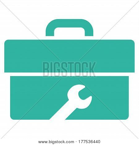Toolbox vector icon. Flat cyan symbol. Pictogram is isolated on a white background. Designed for web and software interfaces.