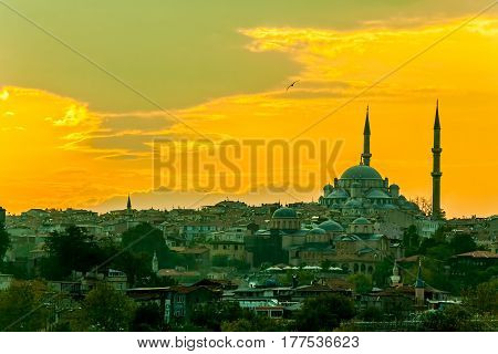 Looking towards the Fatih mosque from the Galata Bridge, Istanbul Turkey.