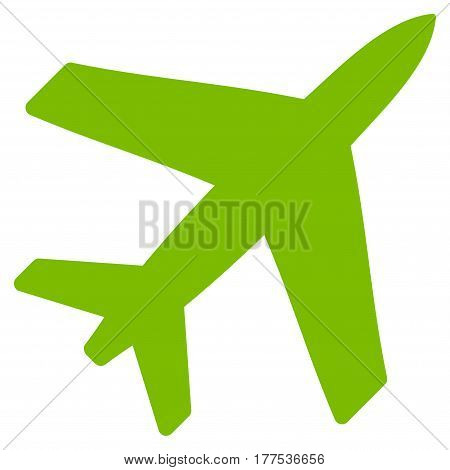 Airplane vector icon. Flat eco green symbol. Pictogram is isolated on a white background. Designed for web and software interfaces.