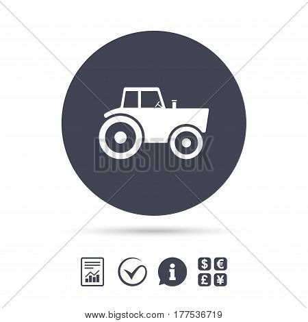 Tractor sign icon. Agricultural industry symbol. Report document, information and check tick icons. Currency exchange. Vector