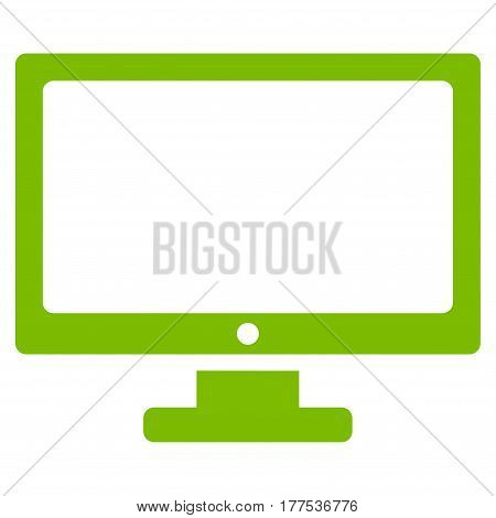 Computer Display vector icon. Flat eco green symbol. Pictogram is isolated on a white background. Designed for web and software interfaces.