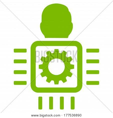 Cyborg Processor vector icon. Flat eco green symbol. Pictogram is isolated on a white background. Designed for web and software interfaces.