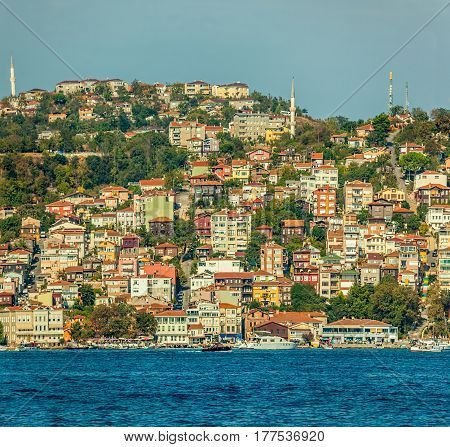 Panorama of Istanbul. View of mosques, houses and mansions sailing Bosphorus