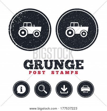 Grunge post stamps. Tractor sign icon. Agricultural industry symbol. Information, download and printer signs. Aged texture web buttons. Vector