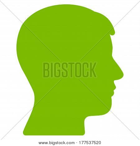 Man Head Profile vector icon. Flat eco green symbol. Pictogram is isolated on a white background. Designed for web and software interfaces.