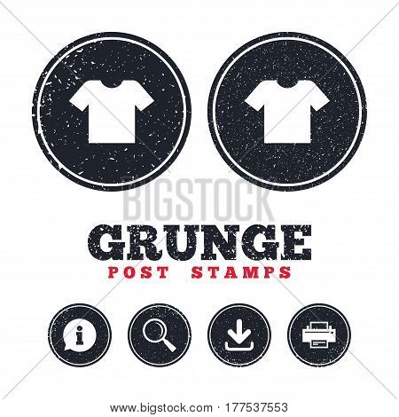 Grunge post stamps. T-shirt sign icon. Clothes symbol. Information, download and printer signs. Aged texture web buttons. Vector