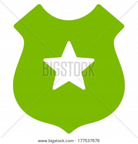 Police Shield vector icon. Flat eco green symbol. Pictogram is isolated on a white background. Designed for web and software interfaces.