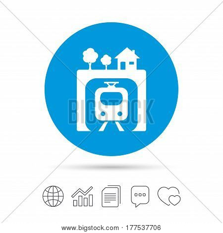 Underground sign icon. Metro train symbol. Copy files, chat speech bubble and chart web icons. Vector