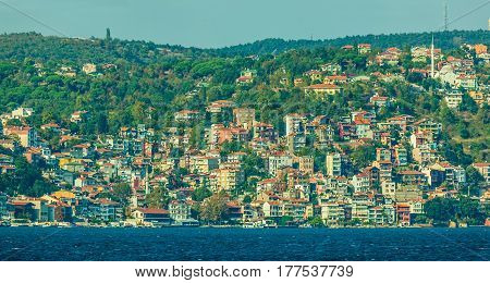 View of old houses and mansions  sailing Bosphorus