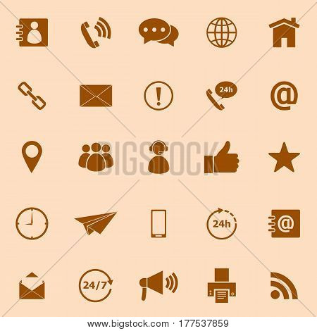 Contact us color icons on orange background, stock vector