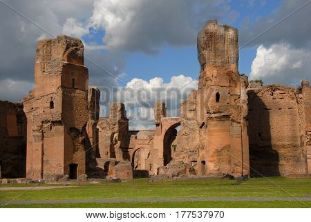 Ancient Baths of Caracalla ruins in the historic center of Rome with beautiful clouds