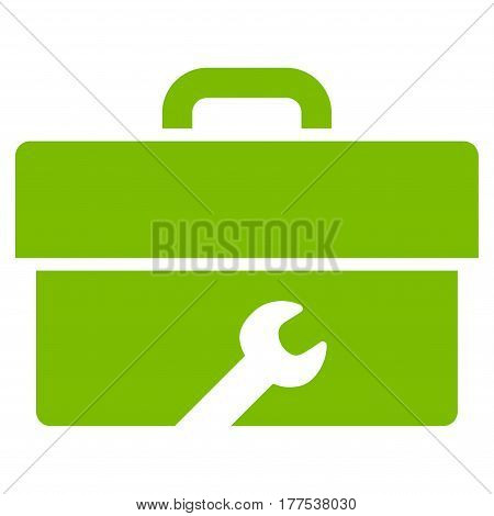 Toolbox vector icon. Flat eco green symbol. Pictogram is isolated on a white background. Designed for web and software interfaces.