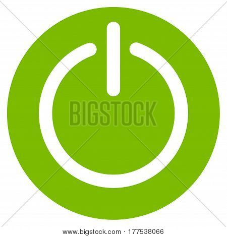 Turn Off Power vector icon. Flat eco green symbol. Pictogram is isolated on a white background. Designed for web and software interfaces.
