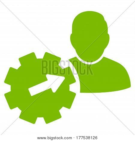 User Integration API Gear vector icon. Flat eco green symbol. Pictogram is isolated on a white background. Designed for web and software interfaces.