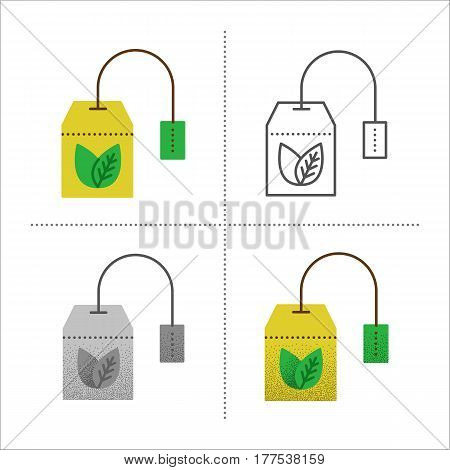 Set of tea bag vector illustration in different styles: retro, flat, thin line, black and white with vintage texture. Teabag with healthy herbal, ceylon, chinese green tea. Icons isolated on white