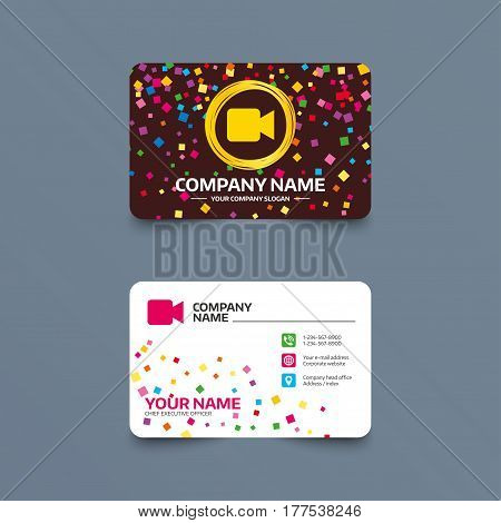 Business card template with confetti pieces. Video camera sign icon. Video content button. Phone, web and location icons. Visiting card  Vector