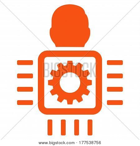 Cyborg Processor vector icon. Flat orange symbol. Pictogram is isolated on a white background. Designed for web and software interfaces.
