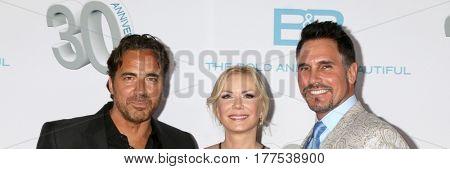 LOS ANGELES - MAR 19:  Thorsten Kaye, Katherine Kelly Lang, Don DIamont at the
