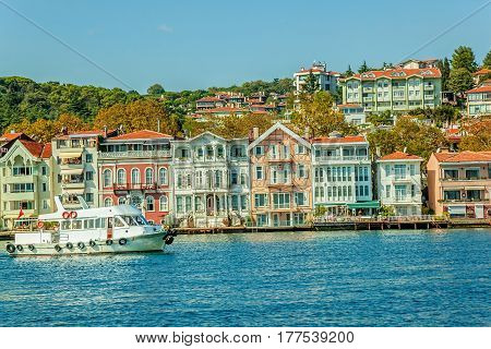 Panoramic view of the first raw of the old finest Ottoman era waterfront houses in Yenikoy, Istanbul