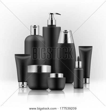 Elegant realistic packages for cosmetic product. Blank templates of containers: vial with dropper, bottle for shower gel, lotion, shampoo with pump dispenser, jar, tube for cream. Black and golden